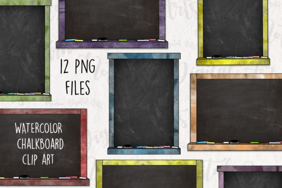 Watercolor Chalkboard Frames Graphic Illustrations By NotturnoClipArt
