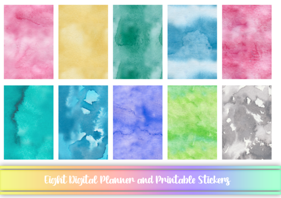 Print on Demand: Watercolor Digital N Printable Stickers Graphic Print Templates By AM Digital Designs