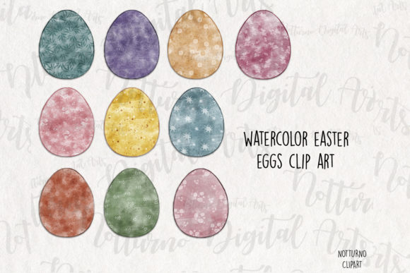 Download Free Watercolor Easter Eggs Clipart Graphic By Notturnoclipart for Cricut Explore, Silhouette and other cutting machines.