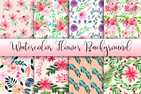 Watercolor Flower Background Graphic Backgrounds By PinkPearly