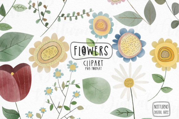 Watercolor Flowers Clipart. Graphic Crafts By NotturnoClipArt