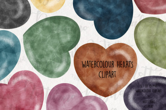 Watercolor Hearts Labels Clipart Graphic Crafts By NotturnoClipArt