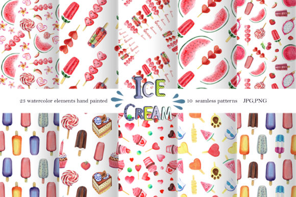 Download Free Watercolor Ice Cream Clipart Patterns Graphic By for Cricut Explore, Silhouette and other cutting machines.
