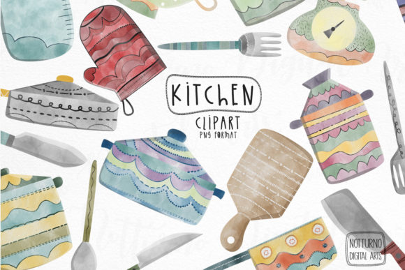 Watercolor Kitchen Clipart Graphic Crafts By NotturnoClipArt
