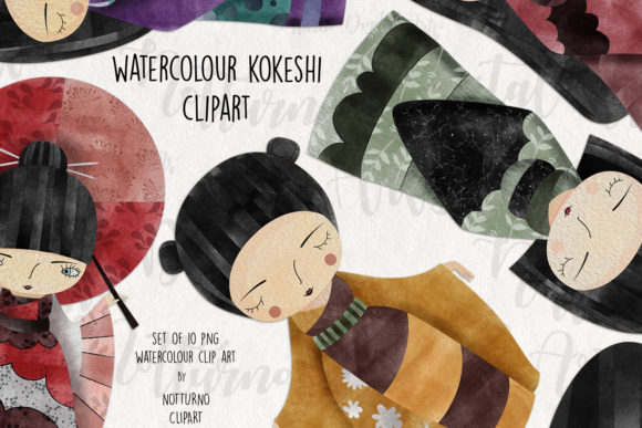 Watercolor Kokeshi Clipart Graphic Crafts By NotturnoClipArt