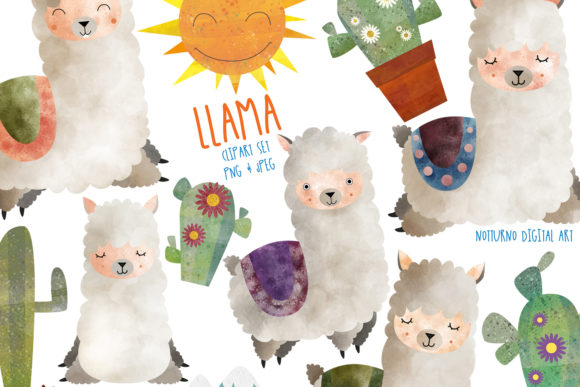 Watercolor Llama Printable Graphic Crafts By NotturnoClipArt