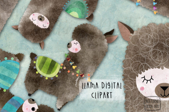 Watercolor Llama Clipart Graphic Crafts By NotturnoClipArt