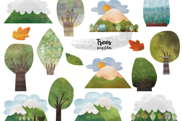 Watercolor Mountain Tree Graphic Crafts By NotturnoClipArt