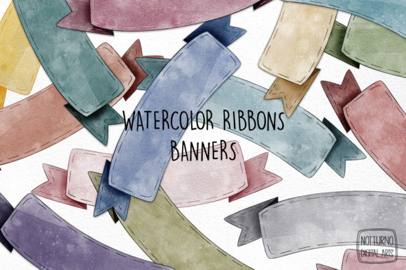 Download Watercolor Ribbon Banners Clipart