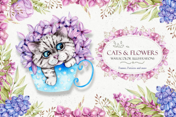 Print on Demand: Watercolor Spring Cats Illustrations Graphic Illustrations By tanatadesign
