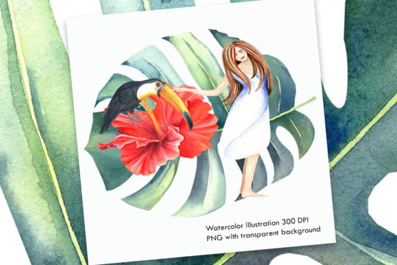 Watercolor Tropical Illustration Graphic Illustrations By evgenia_art_art