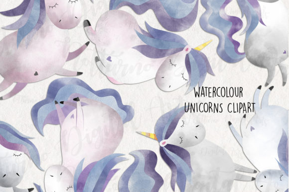 Watercolor Unicorn Clipart Graphic Crafts By NotturnoClipArt