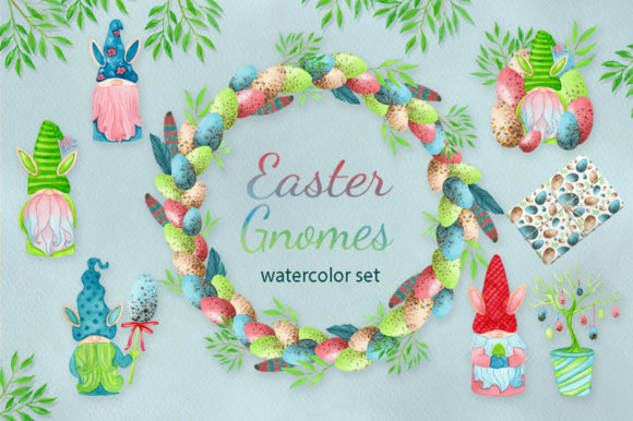 Print on Demand: Watercolor Easter Gnomes Collection Graphic Illustrations By s.yanyeva