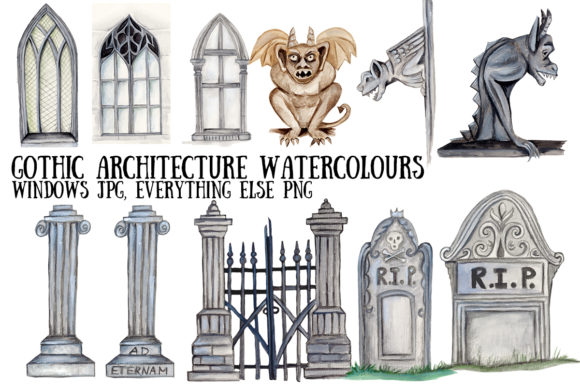 Watercolour Gothic Architecture Graphic Illustrations By My Little Black Heart
