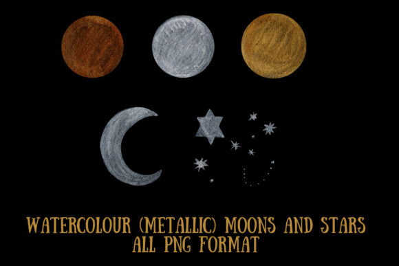 Watercolour Moons and Stars Graphic Illustrations By My Little Black Heart