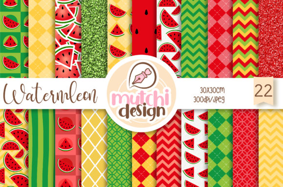 Print on Demand: Watermelon Digital Papers Graphic Backgrounds By Mutchi Design