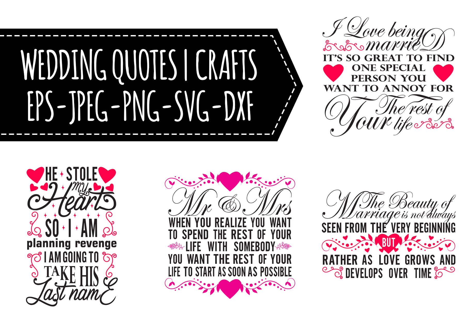 Download Free Wedding Quotes Bundles Graphic By Tosca Digital Creative Fabrica for Cricut Explore, Silhouette and other cutting machines.