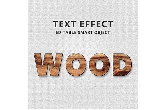 Print on Demand: Wood Text Effect PSD Graphic Actions & Presets By Masyafi Creative Studio