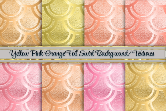 Yellow and Orange Swirl Foil Background Graphic Backgrounds By AM Digital Designs