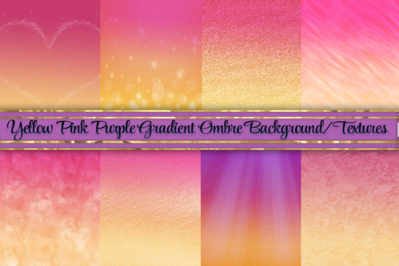 Print on Demand: Yellow and Pink Ombre Background/Texture Graphic Backgrounds By AM Digital Designs