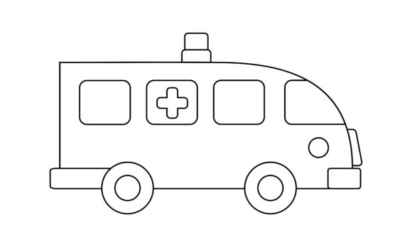 Download Free Ambulance Coloring Book Transportation Graphic By Deemka Studio for Cricut Explore, Silhouette and other cutting machines.