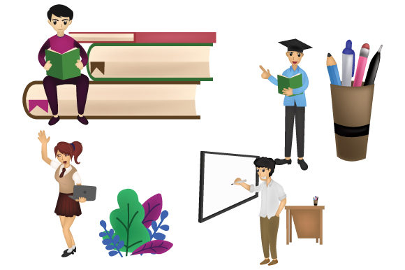 Print on Demand: Back to School Cartoo Character Set Graphic Icons By iop_micro