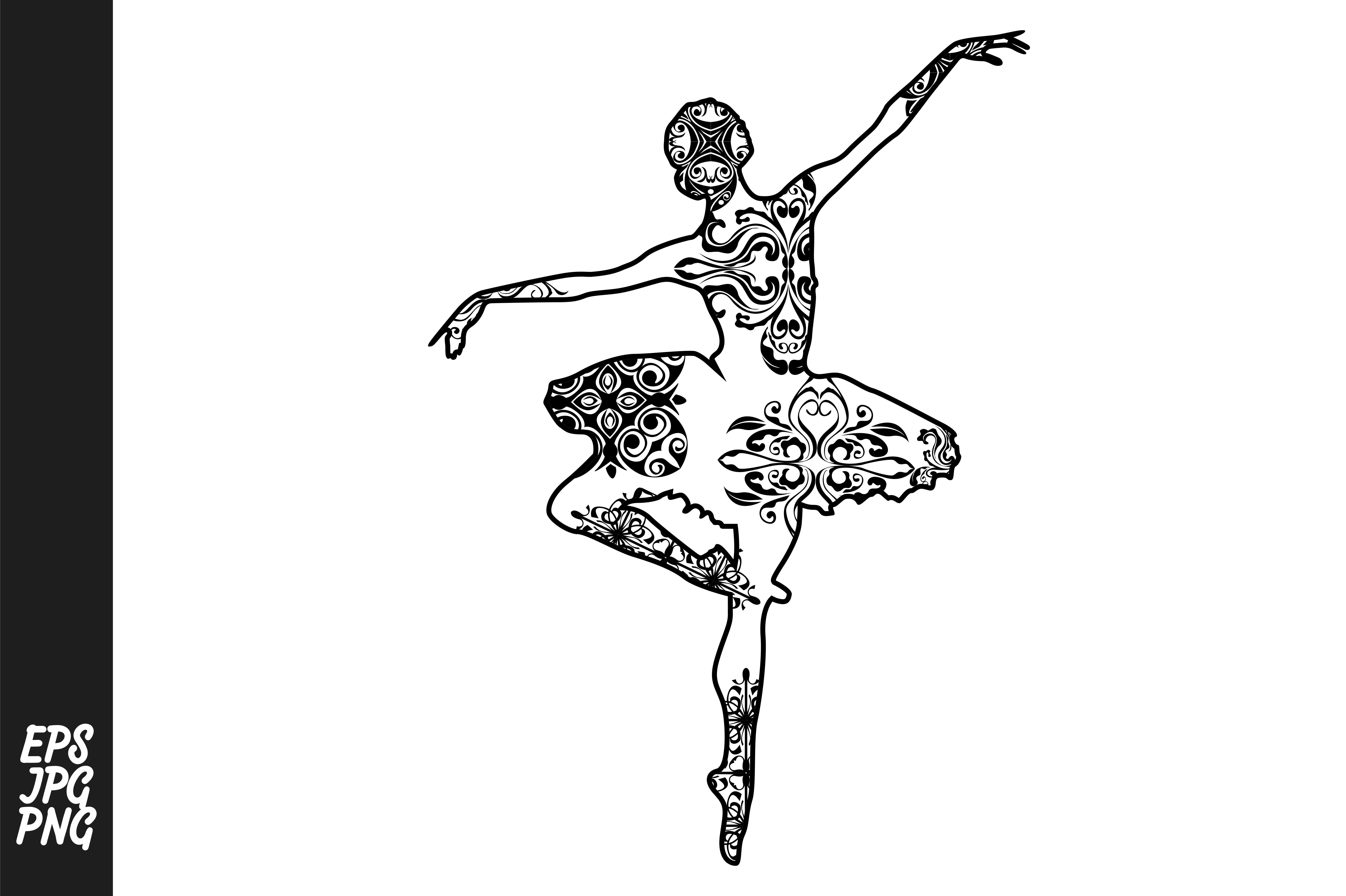 Download Free Ballet Dancer Mandala Line Art Style Graphic By Arief Sapta for Cricut Explore, Silhouette and other cutting machines.