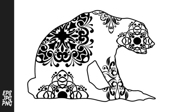 Print on Demand: Bear Mandala Line Art Style Graphic Crafts By Arief Sapta Adjie