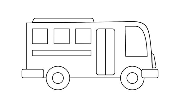 Bus Coloring Book Transportation Logo Graphic Coloring Pages & Books Kids By DEEMKA STUDIO
