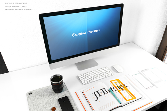 Download Free Clean Desktop Computer Mockup Grafik Von Knou Creative Fabrica for Cricut Explore, Silhouette and other cutting machines.