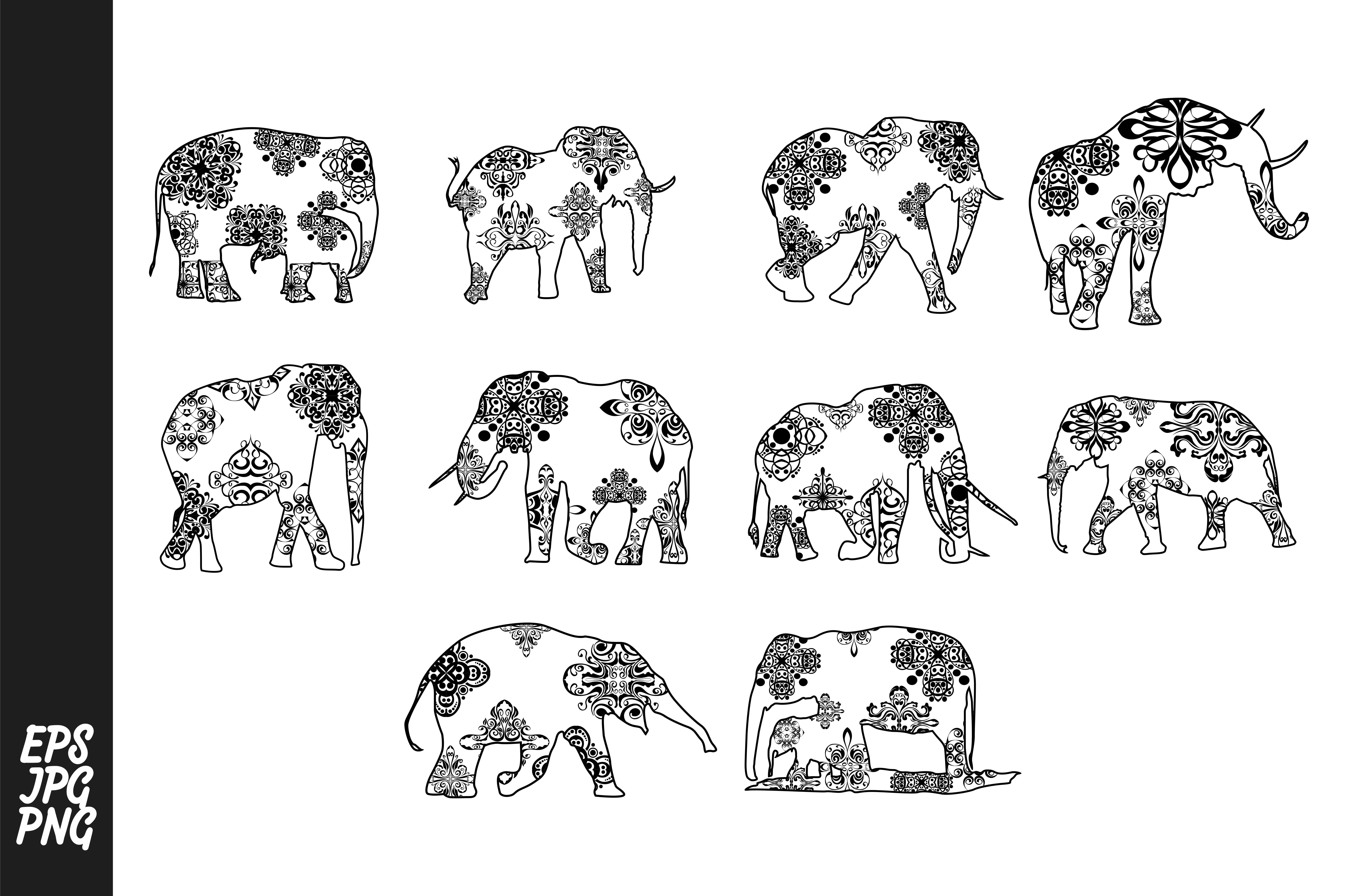 Download Free Elephant Mandala Line Art Style Bundle Graphic By Arief Sapta for Cricut Explore, Silhouette and other cutting machines.
