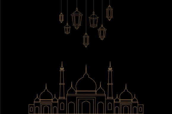 Download Free Lanterns And Mosque Outline Vector Graphic By Sabavector for Cricut Explore, Silhouette and other cutting machines.