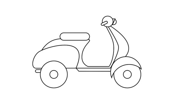 Motorcycle Coloring Book Transportation Graphic Coloring Pages & Books Kids By DEEMKA STUDIO