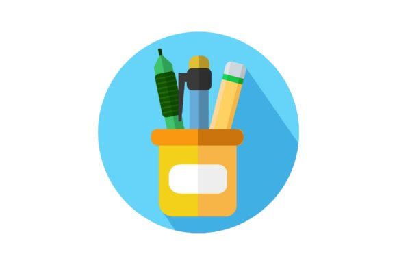 Download Free Pen And Pencil Case Icon Graphic By Home Sweet Creative Fabrica for Cricut Explore, Silhouette and other cutting machines.