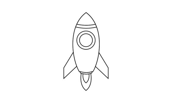 Rocket Coloring Book Transportation Logo Graphic Coloring Pages & Books Kids By DEEMKA STUDIO