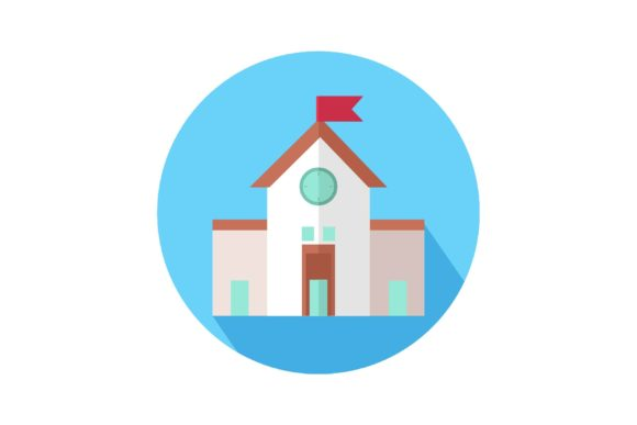 Print on Demand: School in Circle Icon Graphic Icons By Home Sweet