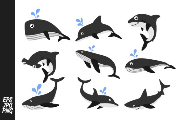 Print on Demand: Sharks, Dolphins, and Whales Vector Set Graphic Crafts By Arief Sapta Adjie