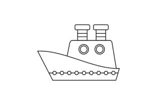 Ship Coloring Book Transportation Logo Graphic Coloring Pages & Books Kids By DEEMKA STUDIO