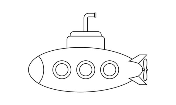 Submarine Coloring Book Transportation Graphic Coloring Pages & Books Kids By DEEMKA STUDIO