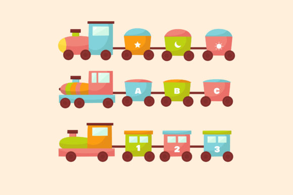 Download Free Toy Train Illustration Collection Graphic By Aprlmp276 for Cricut Explore, Silhouette and other cutting machines.