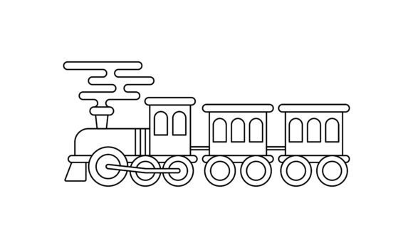 Train Coloring Book Transportation Logo Graphic Coloring Pages & Books Kids By DEEMKA STUDIO