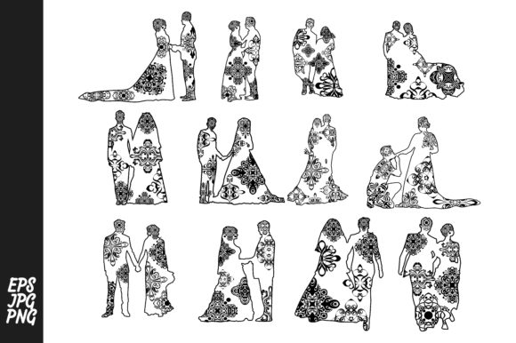 Print on Demand: Wedding Couple Mandala Line Art Style Graphic Crafts By Arief Sapta Adjie