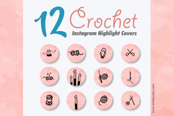 Print on Demand: 12 Crochet Instagram Highlight Covers Graphic Icons By artsbynaty