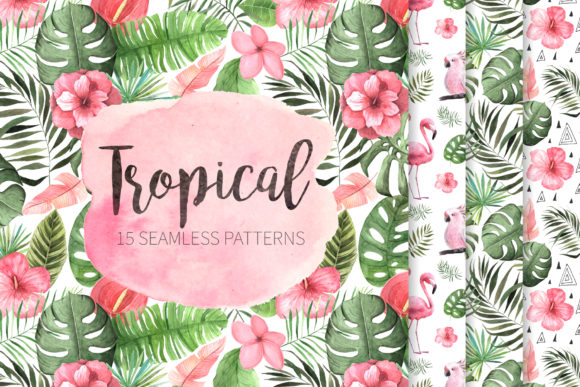15 Watercolor Tropical Patterns Set Graphic Illustrations By Larysa Zabrotskaya