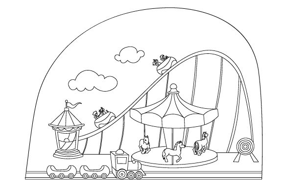 Amusement Park Coloring Page Designs & Drawings Craft Cut File By Creative Fabrica Crafts