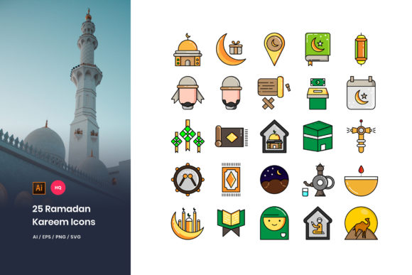 Download Free 25 Ramadan Kareem Icons Pack Graphic By Stringlabs Creative for Cricut Explore, Silhouette and other cutting machines.