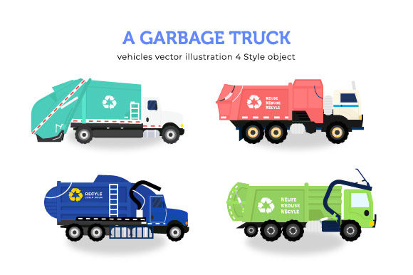 Download Free 4 Garbage Truck Collection Bundle Graphic By Griyolabs for Cricut Explore, Silhouette and other cutting machines.