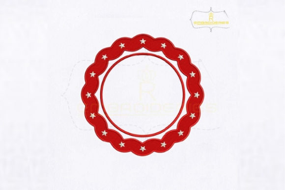 4th of July Circle Monogram Embroidery