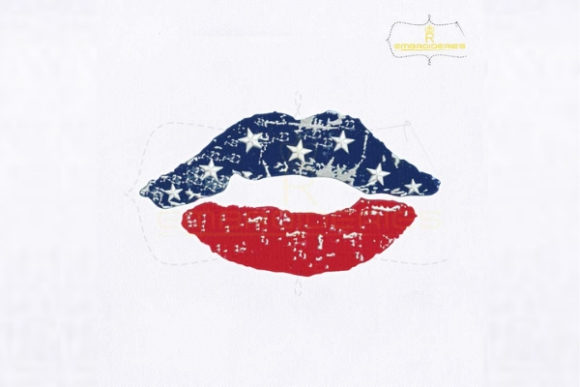 4th of July Distressed Lips Día de la Independencia Diseños de bordado Por RoyalEmbroideries