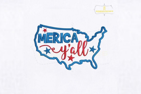 4th of July Merica Y'all Map Embroidery